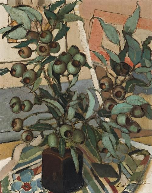 Constance Stokes (Australian, 1906-1991), Green Gum Nuts, c. 1933. Oil on canvas, 50.5 x 40.5 cm.