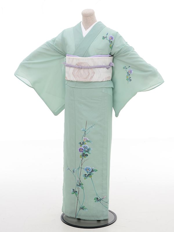 Transparent, light tsukesage with morning glory (asagao) motifs. Ready for summer! <3