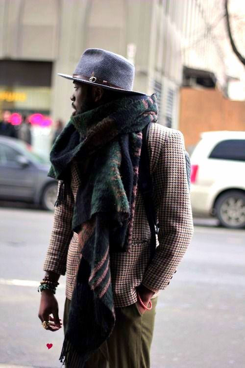 olive green pants, houndstooth jacket, brim and scarf