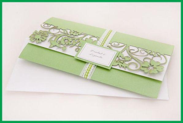Classy green wedding invitation