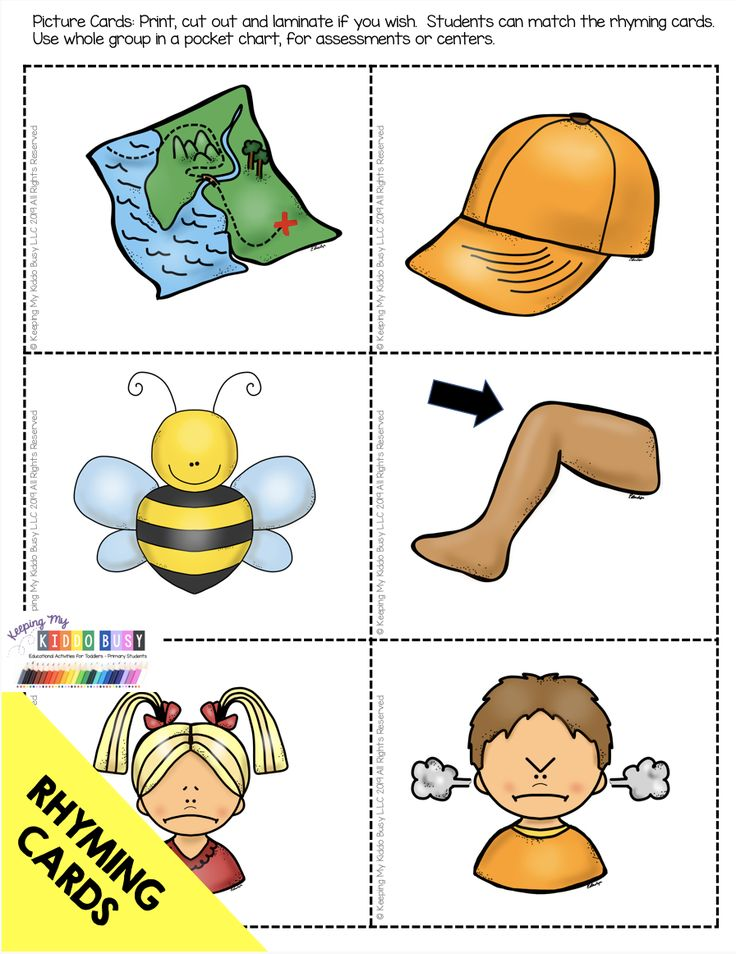 MATCHING CARDS for a rhyming center  – how to rhyme – complete rhyming unit with… – AUGUST in Kindergarten