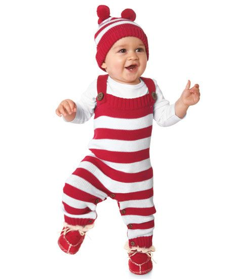 holly jolly stripe knit overalls - Chasing Fireflies