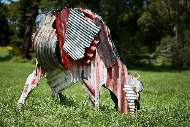 Cows by Jeff Thompson, 1987   corrugated iron sculptures