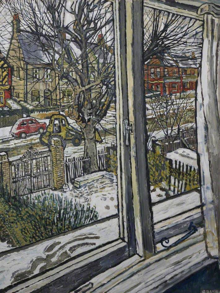 John Randall Bratby  - Bulldozing Away the Snow, Oil on canvas, 121 x 91 cm, Plymouth City Council: Museum and Art Gallery.