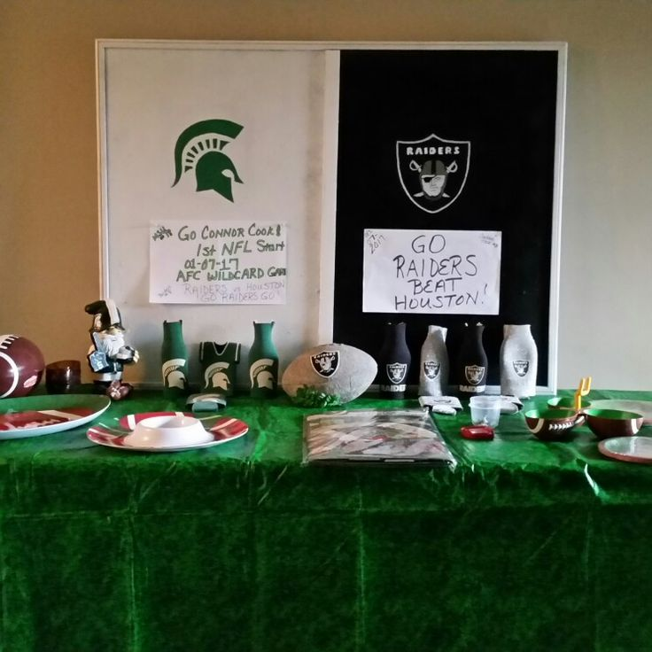My 2 favorite teams and Connor Cook's 1st NFL start...couldn't resist. I spent more time on the bulletin board but added signs for today's game. READY FOR SOME FOOTBALL!