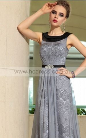 Lace Jewel Natural A-line  Bridesmaid Dresses 0190958