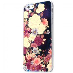 Soft TPU Material Back Case Cover with Flower Pattern for iPhone 6 Plus - 5.5 inches