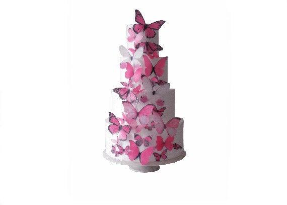 30 Mariposas de obleas comestibles - más bonita rosa 30 - Pastel de boda Topper - Decoraciones - Accesorios