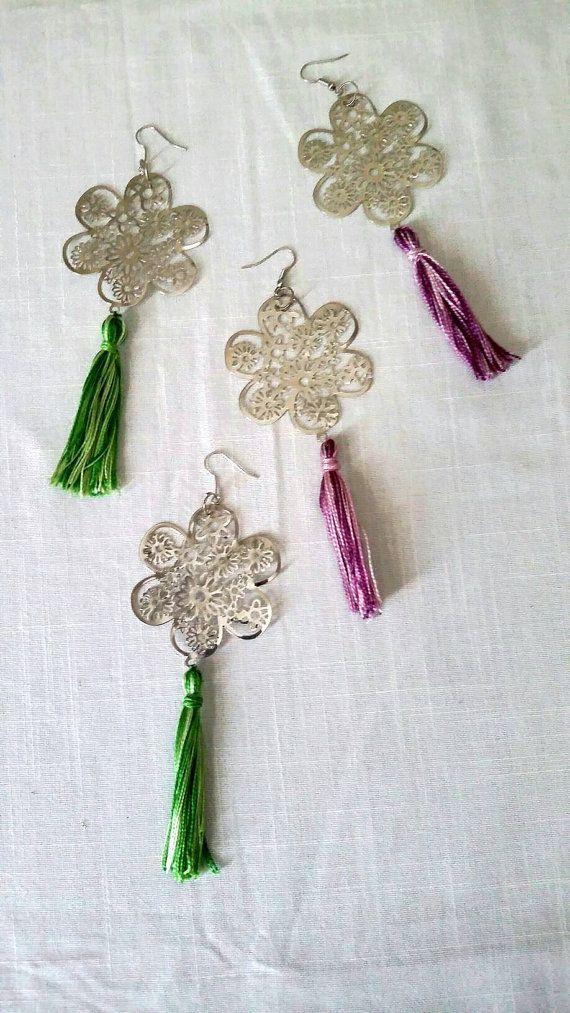 Long flower tassel earrings/boho by KaterinakiJewelry on Etsy