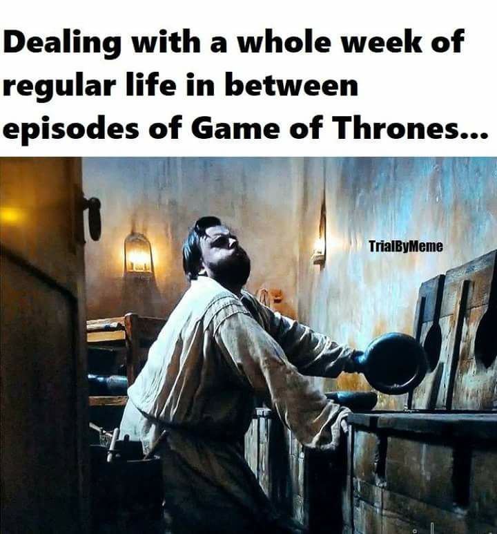 Dealing with a whole week of regular life in between episodes of Game of Thrones funny humour meme Samwell Tarly