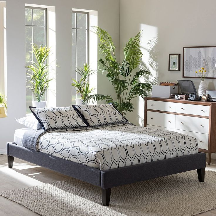 Baxton Studio Lancashire Faux-Leather Bed Frame, Dark Grey