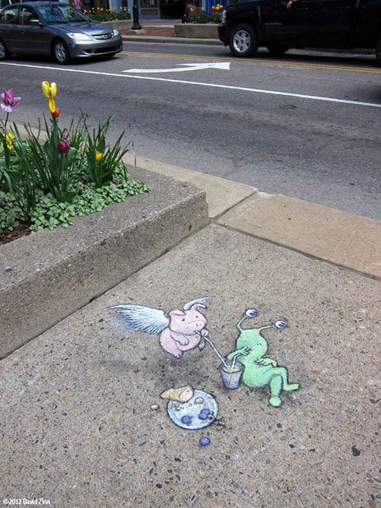 Best David Zinn Street Art Images On Pinterest David Zinn - David zinns 3d chalk art adorably creative