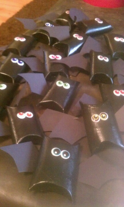 Treats for my son's class for Halloween...toilet paper rolls!!