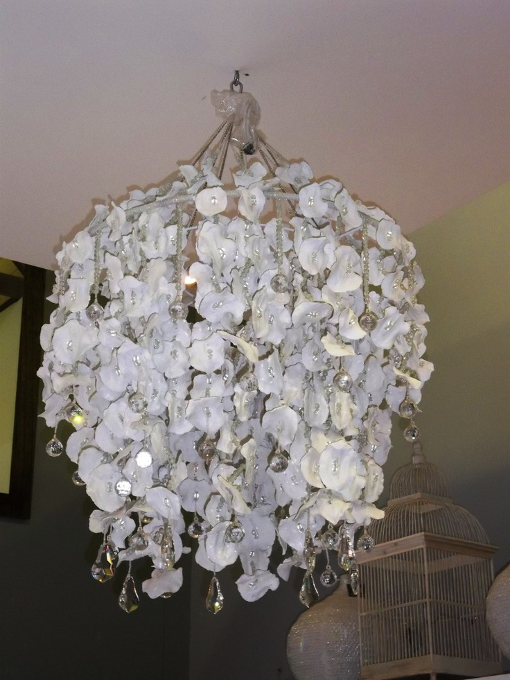 Crystal Snow chandelier made from Jacaranda Seed Pods and crystal