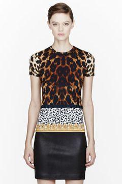 VERSUS Tan & gold Animal Print T-Shirt on shopstyle.com