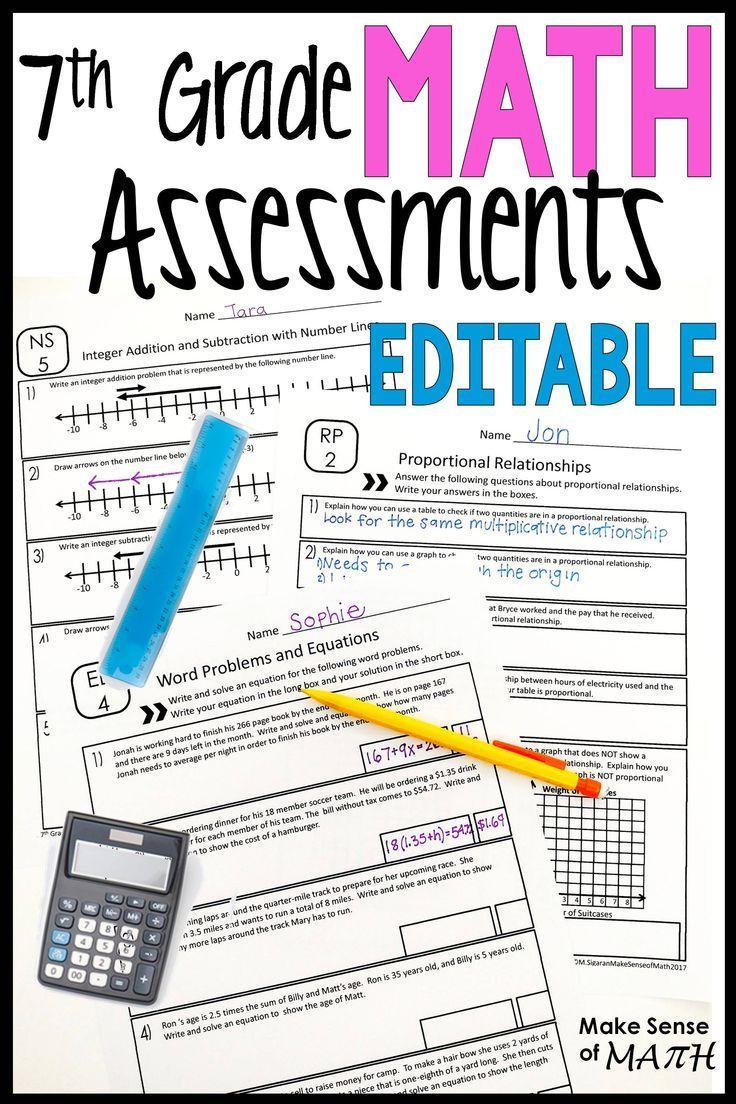 Predownload: 7th Grade Math Assessments Common Core Bundle Editable 7th Grade Math Math Assessment Maths Activities Middle School [ 1104 x 736 Pixel ]
