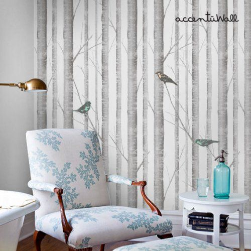 Birch tree peel stick fabric wallpaper - Birch tree wallpaper peel and stick ...