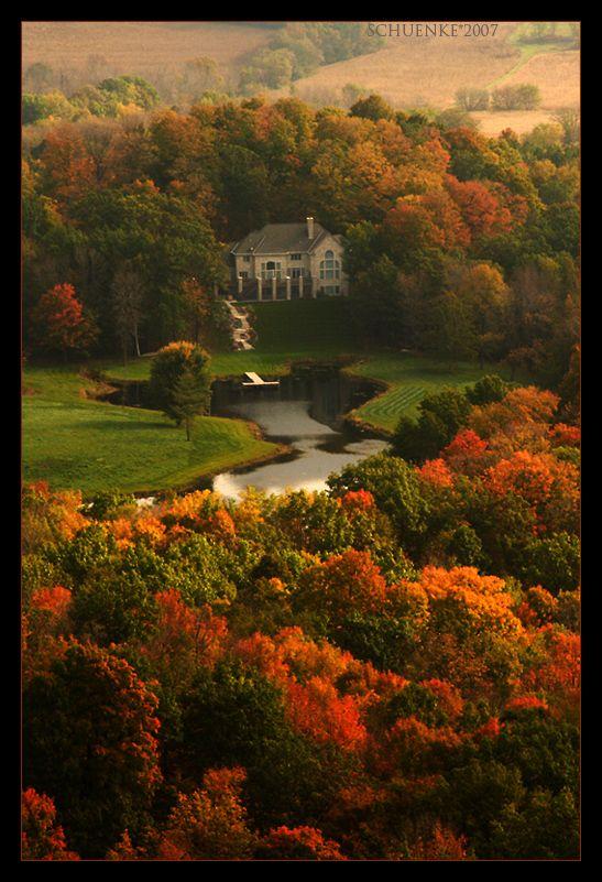 """Fall colors..."" - [View from the top of *Holy Hill, Hubertus, Wisconsin*]~[Photographer ~PacIslander2 (Dan Schuenke) - October 13 2007 on deviantART]h4d-1092012"