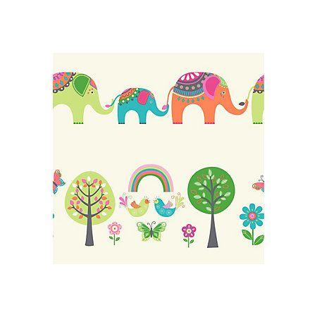 View Elephants & Trees Cream, Green & Orange Children's Wallpaper details