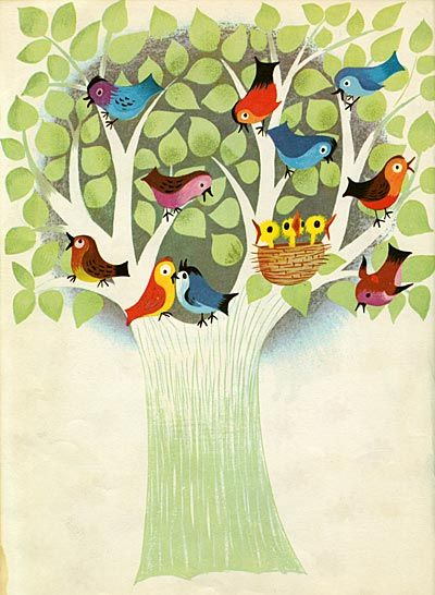 Sweet birdies in a tree illustration by artist Mary Blair
