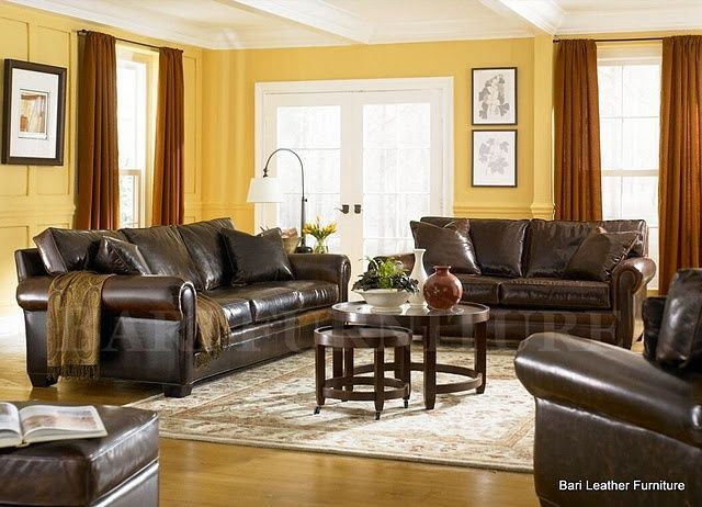Brown Leather Living Room Yellow And Red Decor Ideas Pinterest Brown Leather Room Ideas