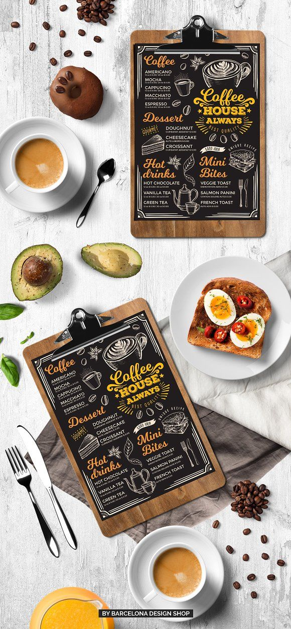Coffee Menu Template. FREEBIE: 100 Free Food Illustrations for your next design project here ➝ http://barcelonadesignshop.com/100-free-food-illustrations/. This free bundle include hand drawn graphic vegetables, fruits, desserts, drinks, berries, nuts.