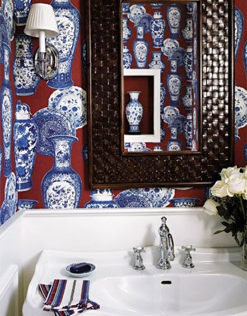 91 best red white and blue chinoiserie images on for Navy bathroom wallpaper