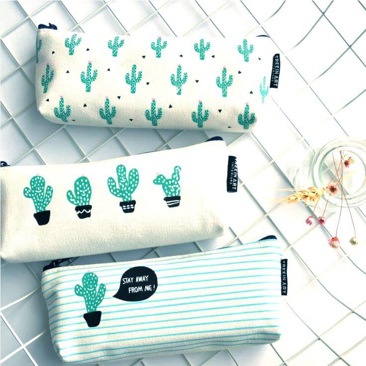 Cactus Caja de Lápiz material Escolar Kawaii Papelería Lienzo Caja de Lápiz Linda Pencilcase Escuela Estuches Cancillería pena de 04907