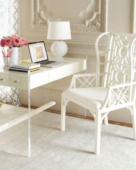 White chair and desk- your flowers will always be the focal point