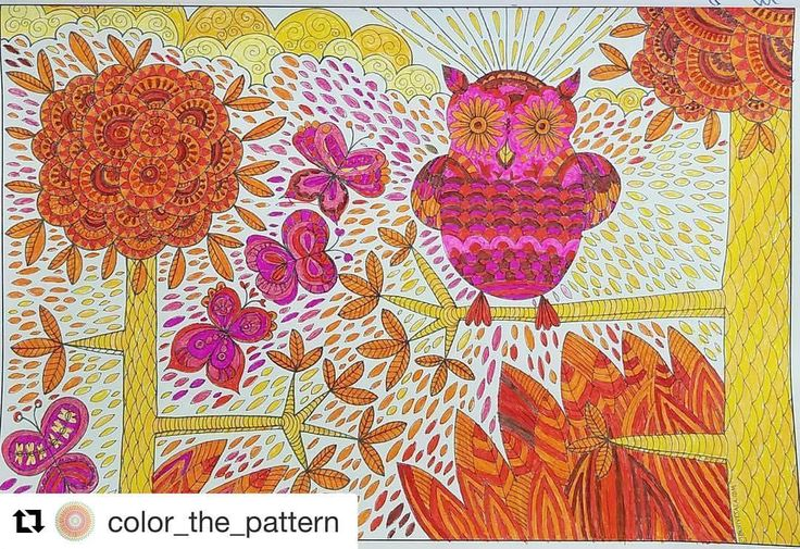 """Mental Images Coloring Books (@paivivesala_art) on Instagram: """"This coloring by @color_the_pattern makes me SMILE ❣️😊 So bright and joyful ❤️💛💖 Coloring book:…"""""""