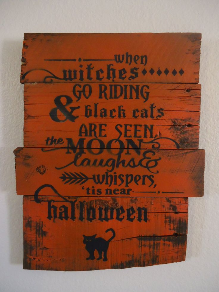Witches, Wooden Signs And Black Cats On Pinterest