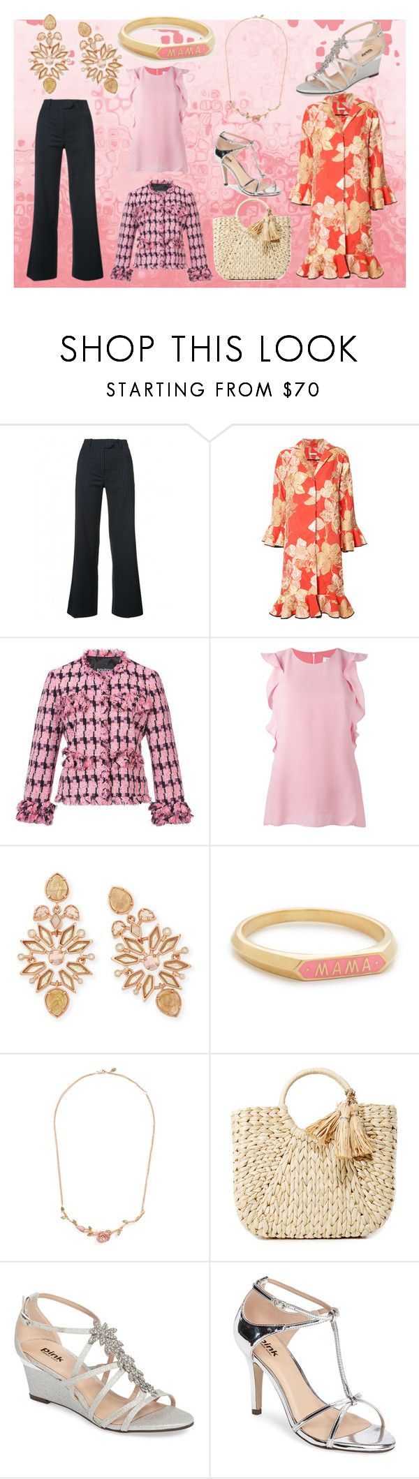 """""""Pink Matches"""" by justinallison ❤ liked on Polyvore featuring Mira Mikati, Tome, Boutique Moschino, Carven, Kendra Scott, Nora Kogan, Anyallerie, Hat Attack and Pink Paradox London"""