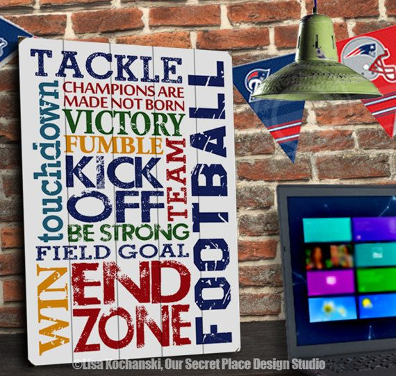 Football Planked Wood Sign Wood Football Signs Football Wall Decor Football Wall Art Football Themed Room Decor Sports Themed Rooms Sports Decor for Boys Sports Themed Nursery Signs for Boys Room Signs for Boys Bedroom Boys Nursery Decor Sports Wall Decor Teen Boy Room Signs Football Signs by OurSecretPlace