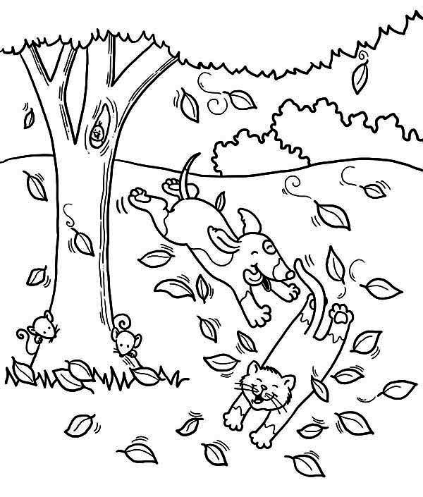 Autumn Dog Run After Cat Under Autumn Leaf Coloring Page