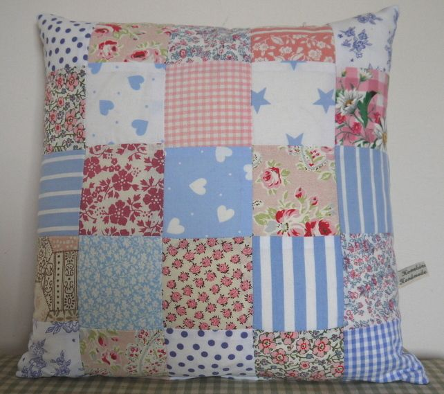 Cushion Pillow Handmade Vintage Pink Blue Floral Patchwork £10.00