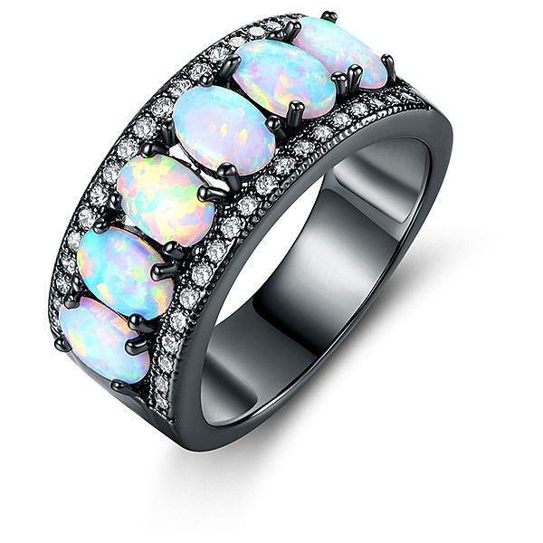 Peermont Opal & Black Rhodium Band Ring (55 BRL) ❤ liked on Polyvore featuring jewelry, rings, band rings, band jewelry, rocker jewelry, black rhodium rings and opal jewellery