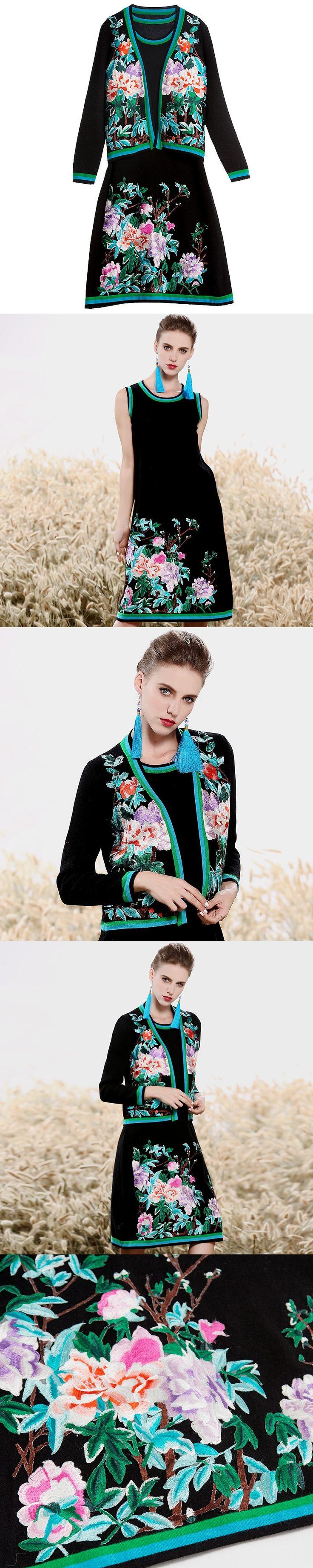Women Mink cashmere suit set royal embroidery vest dress + wool knit floral Cardigan coat 2 pieces elegant lady suit female M-XL