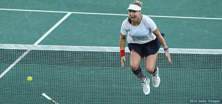 Bethanie Mattek-Sands celebrates victory in the mixed doubles gold-medal match against Rajeev Ram and Venus Williams at the Rio 2016 Olympic Games at the Olympic Tennis Centre on Aug. 14, 2016.