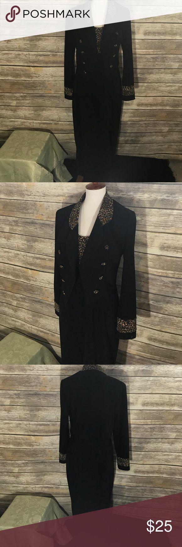 Dress Sheri Martin black suede and animal print long dress with jacket. 97% polyester 3% Spandex Sheri Martin Dresses Maxi