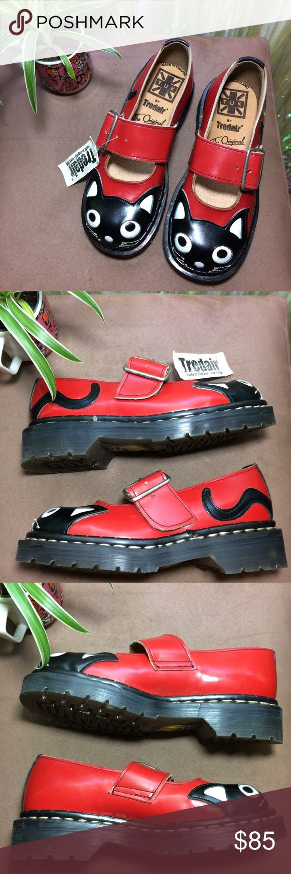 "Vintage Tredair Red Cat Kitty Leather Mary Janes MEOW AGAIN! 🐱 Vintage Tredair Red Cat Kitty Leather Mary Janes. Made in England 🇬🇧 UK 3. US Women's 5. Signs of age - spots on soles. Never worn. Deadstock.   Insole- 8.5""  *I'm not responsible for the fit of an item*  🚫 I don't discuss prices through comments, please use the offer button!  ⚡️ Same-day or next-day shipping 📬 All packages handled with care 📦 Bundle 2+ items for a discount 👽 Follow for new items & sale updates 🏡 Pet-free…"