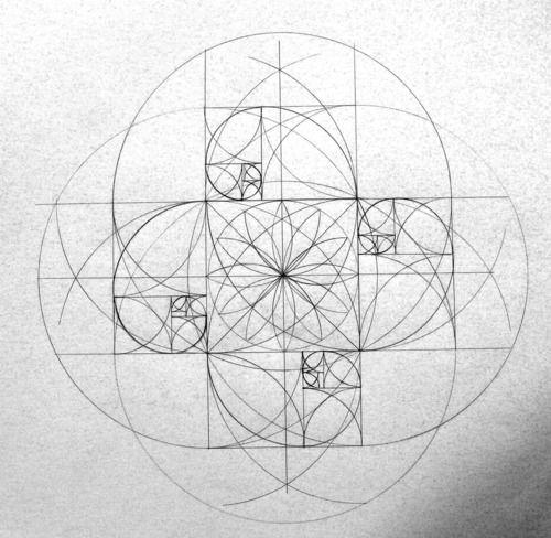 un:  themathkid:  Beautiful geometric construction. The spirals are a nice touch.    Fibonacci