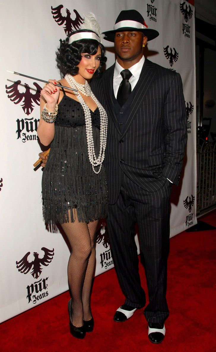 Pin for Later: 55+ Celebrity Couples Halloween Costumes Kim Kardashian and Reggie Bush as a Flapper and a Mobster