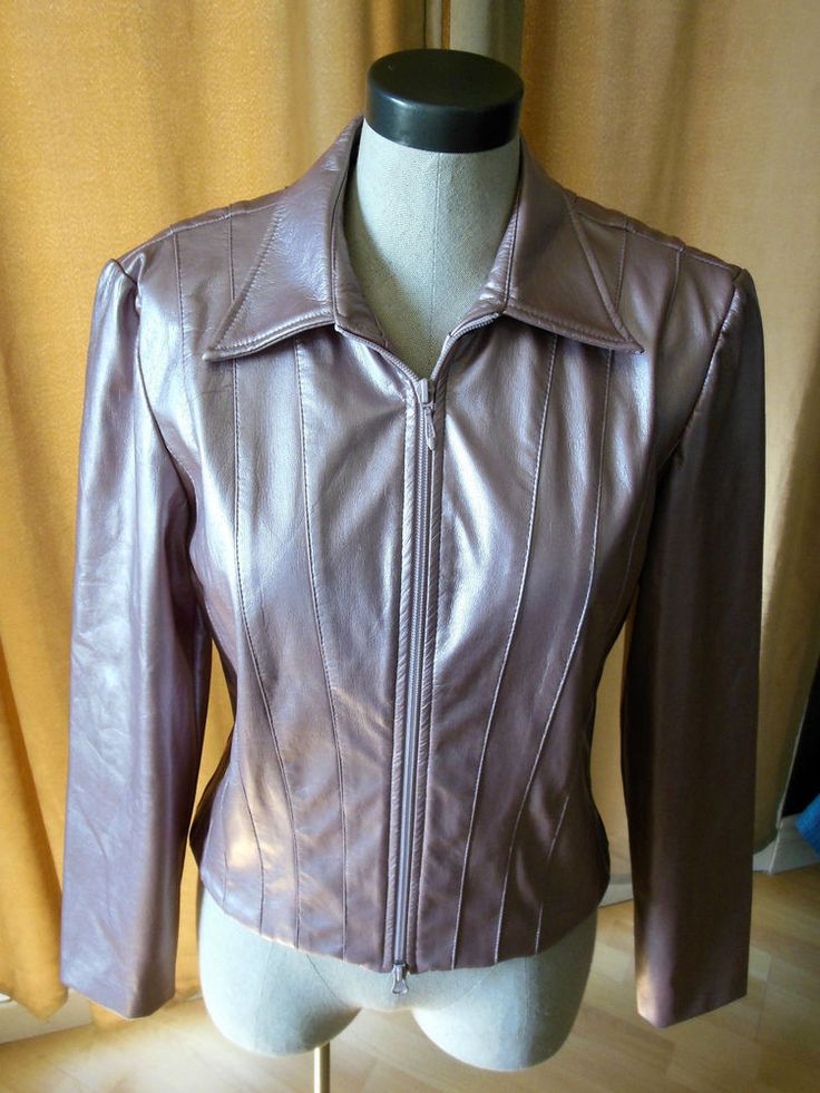 Vintage Joseph Ribkoff pink metallic leather like full zip