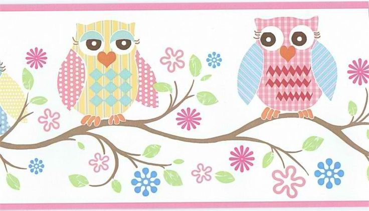 Pink Owl Wallpaper Border GIR94011B Baby Owls Girls