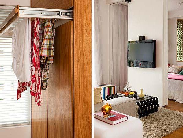Na cozinha, que se estende até a lavanderia, o mobiliário planejado permitiu configurações funcionais, a exemplo do varal retrátil executado...