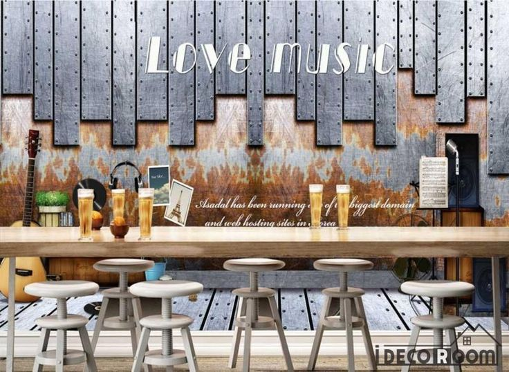Rectangular Metal Pieces On Wall Love Music Restaurant Art Wall Murals Wallpaper Decals Prints Decor