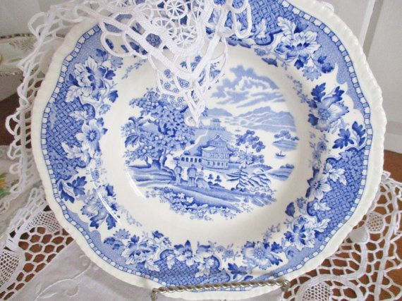 Vintage Seaforth Enoch soup bowl blue and by EnglishGardenTeaShop
