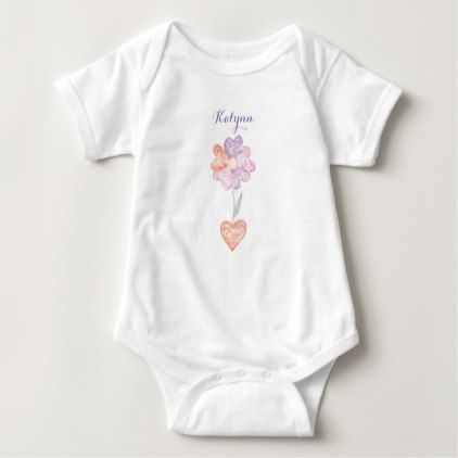Customizable Valentine's Day Heart Flower Baby Bodysuit - valentines day gifts love couple diy personalize for her for him girlfriend boyfriend