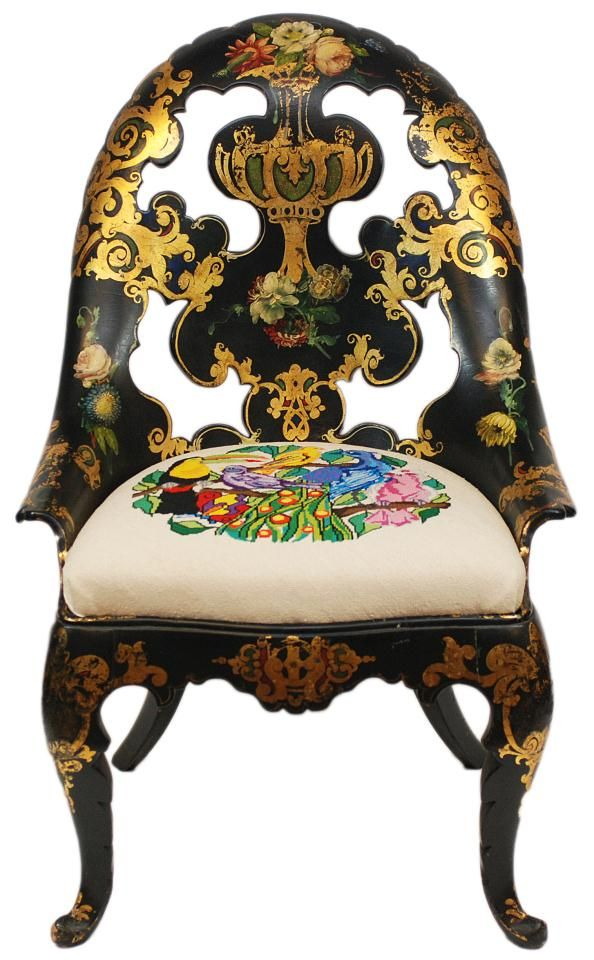 Antique hand crafted Papier Mache parlor chair. Has hand painted gilded floral scroll design over black lacquer finish.