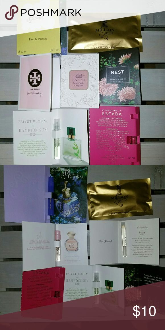 8 Perfume Samples - New Dahlia & Vines by Nest  Privet Bloom by Hampton Sunday Especially Escada Cleopatra by Tocco Love Relentlessly by Tory Burch Lolita Lempicka Jasmine Nair by Bvlgari One Million Paco Rabanne Cologne for Men Other